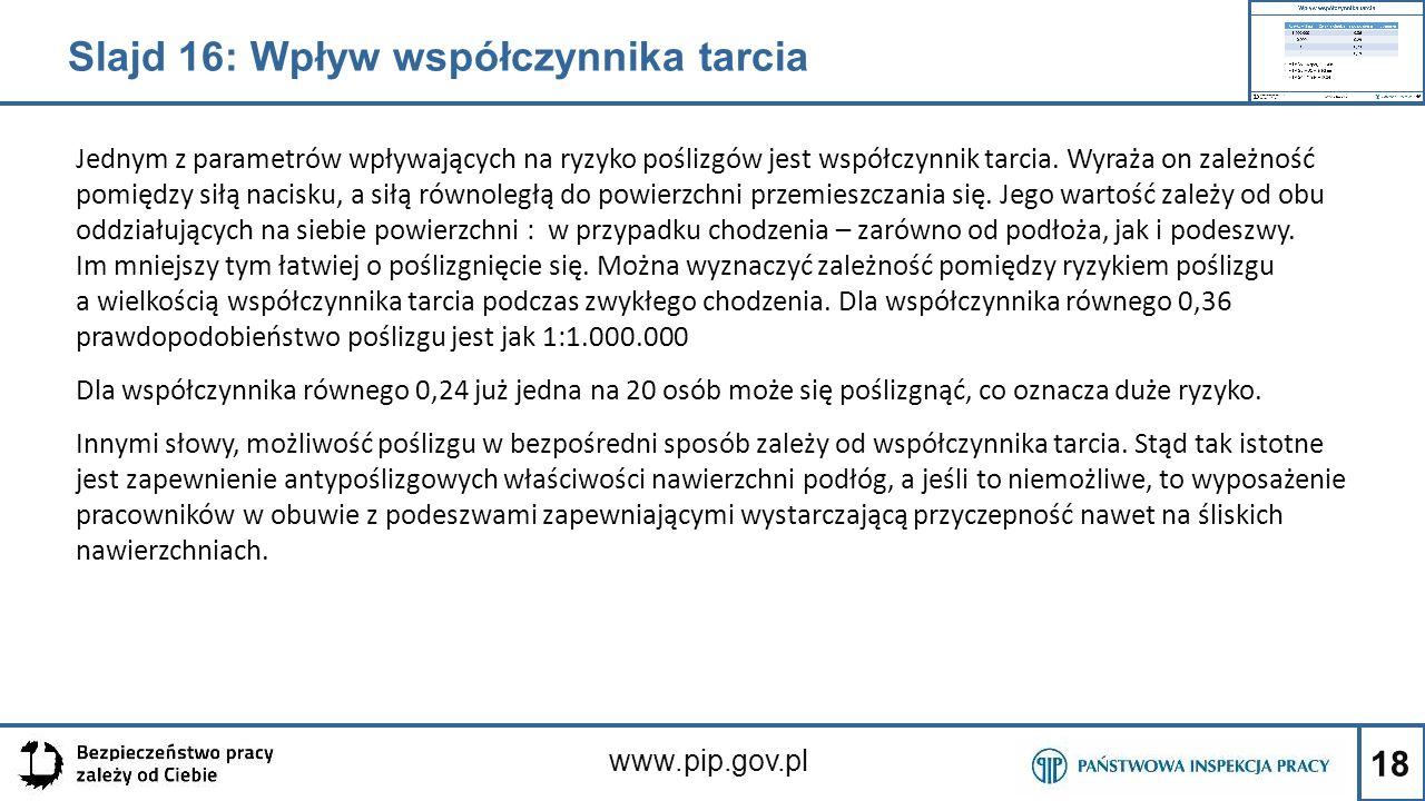 18 www.pip.gov.pl Jednym z parametrów wpływających na ryzyko poślizgów jest współczynnik tarcia. Wyraża on zależność pomiędzy siłą nacisku, a siłą rów