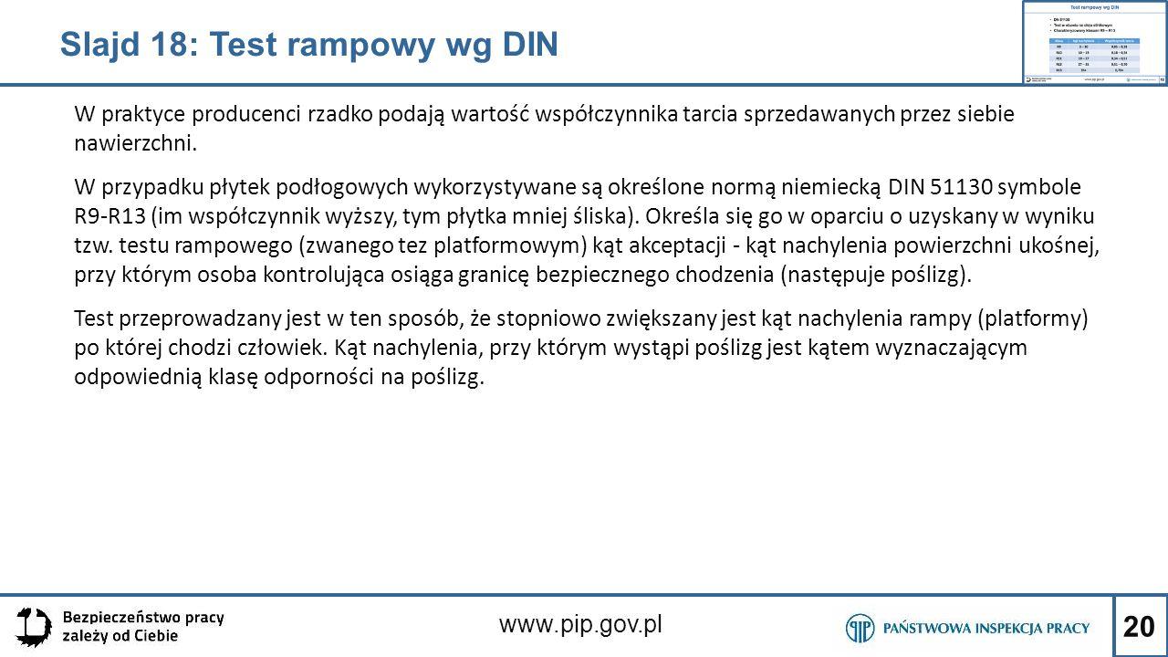 20 www.pip.gov.pl W praktyce producenci rzadko podają wartość współczynnika tarcia sprzedawanych przez siebie nawierzchni. W przypadku płytek podłogow