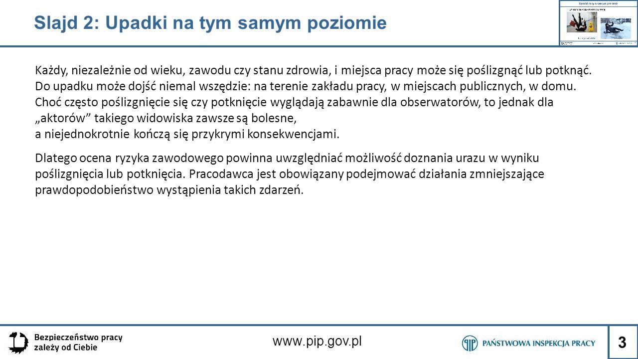 3 www.pip.gov.pl Slajd 2: Upadki na tym samym poziomie Każdy, niezależnie od wieku, zawodu czy stanu zdrowia, i miejsca pracy może się poślizgnąć lub
