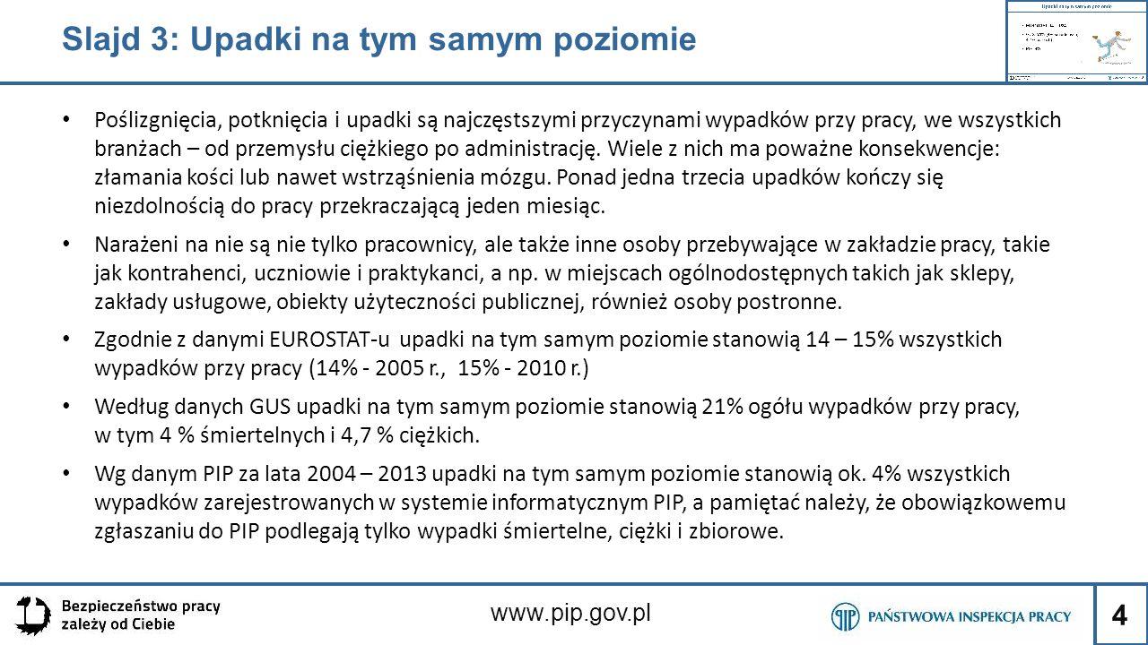 5 www.pip.gov.pl Slajd 4: Skutki upadków na tym samym poziomie W grudniu, poszkodowana podczas przenoszenia filetów oraz skrzydeł drobiu w misce z tworzywa sztucznego przewróciła się wchodząc do sklepu.
