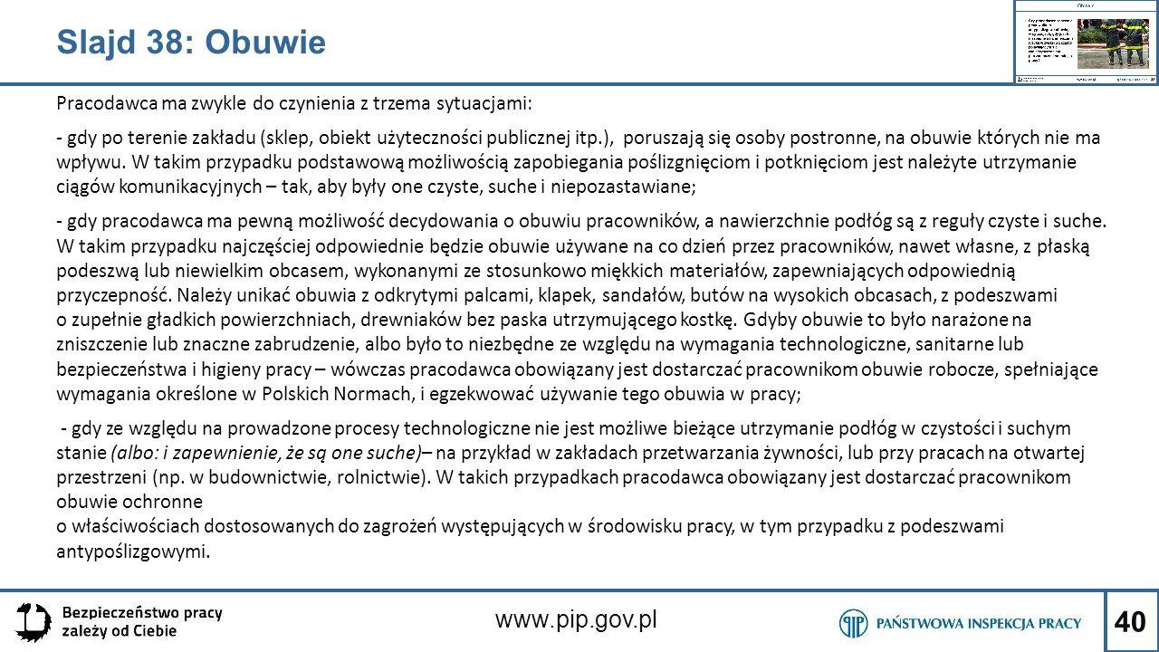 40 www.pip.gov.pl Pracodawca ma zwykle do czynienia z trzema sytuacjami: - gdy po terenie zakładu (sklep, obiekt użyteczności publicznej itp.), porusz