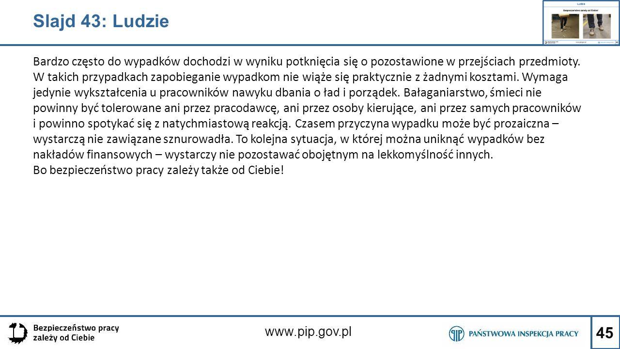 45 www.pip.gov.pl Slajd 43: Ludzie Bardzo często do wypadków dochodzi w wyniku potknięcia się o pozostawione w przejściach przedmioty. W takich przypa
