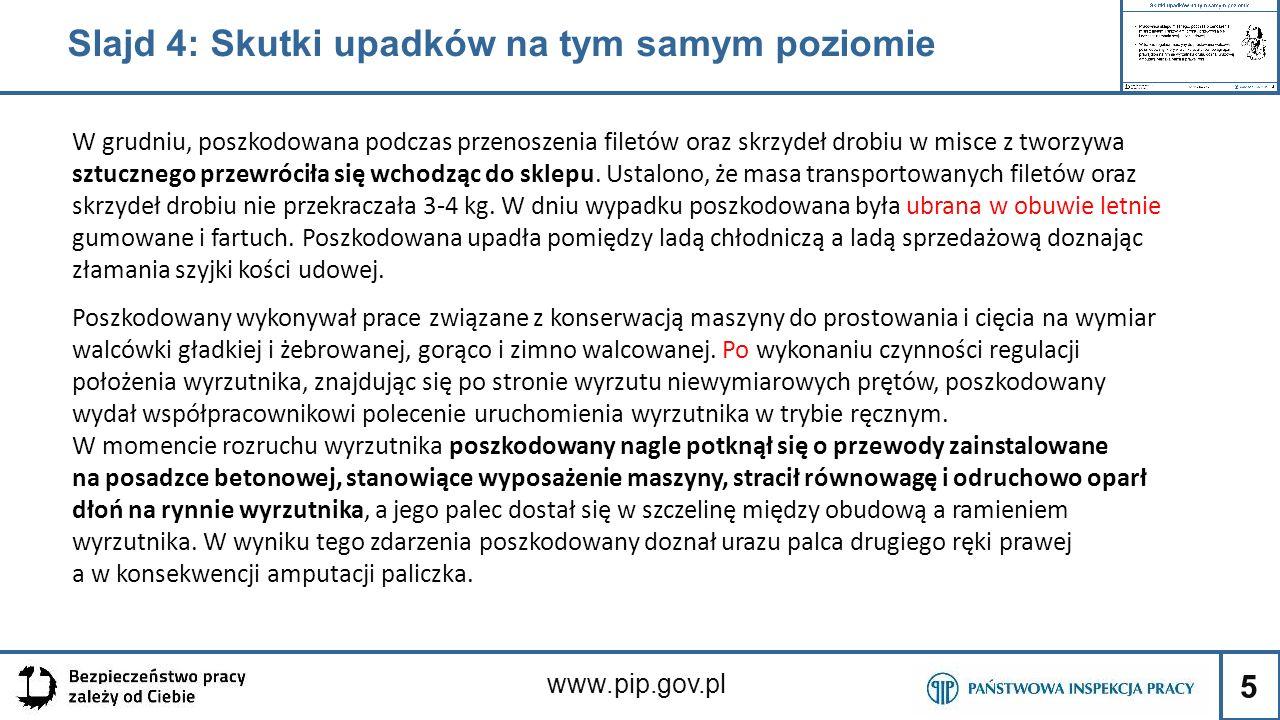5 www.pip.gov.pl Slajd 4: Skutki upadków na tym samym poziomie W grudniu, poszkodowana podczas przenoszenia filetów oraz skrzydeł drobiu w misce z two