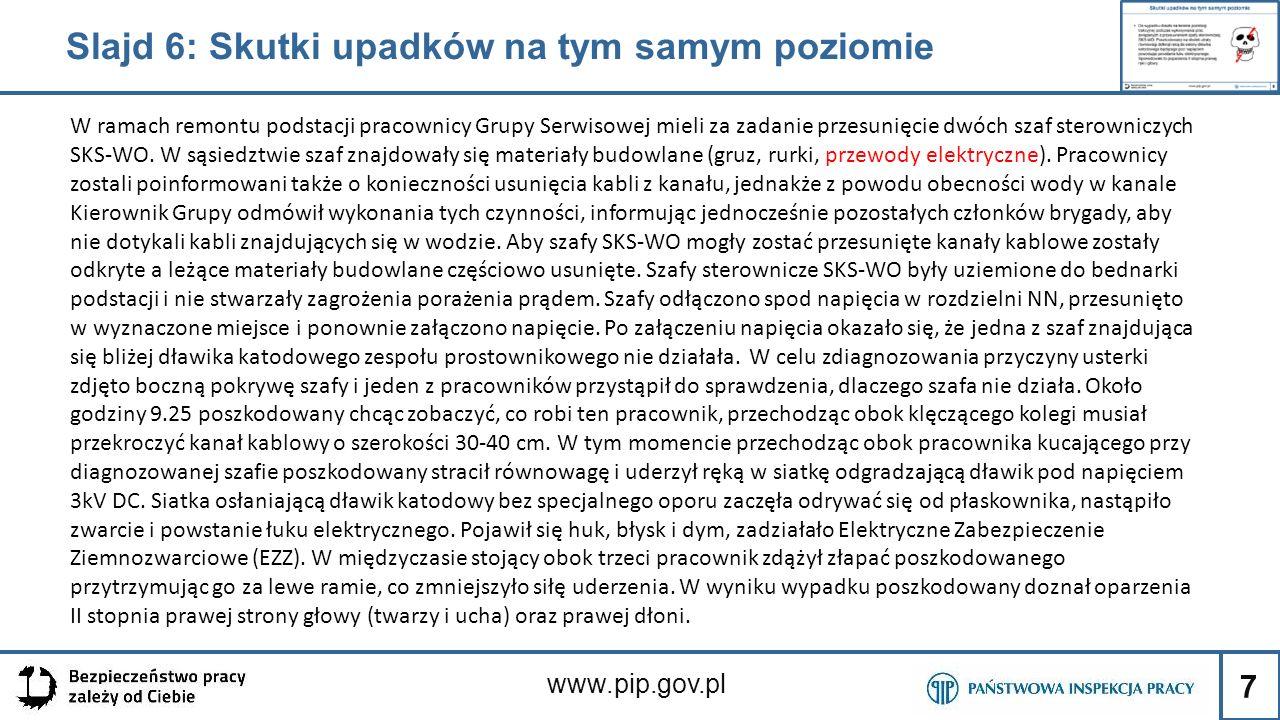 7 www.pip.gov.pl W ramach remontu podstacji pracownicy Grupy Serwisowej mieli za zadanie przesunięcie dwóch szaf sterowniczych SKS-WO. W sąsiedztwie s