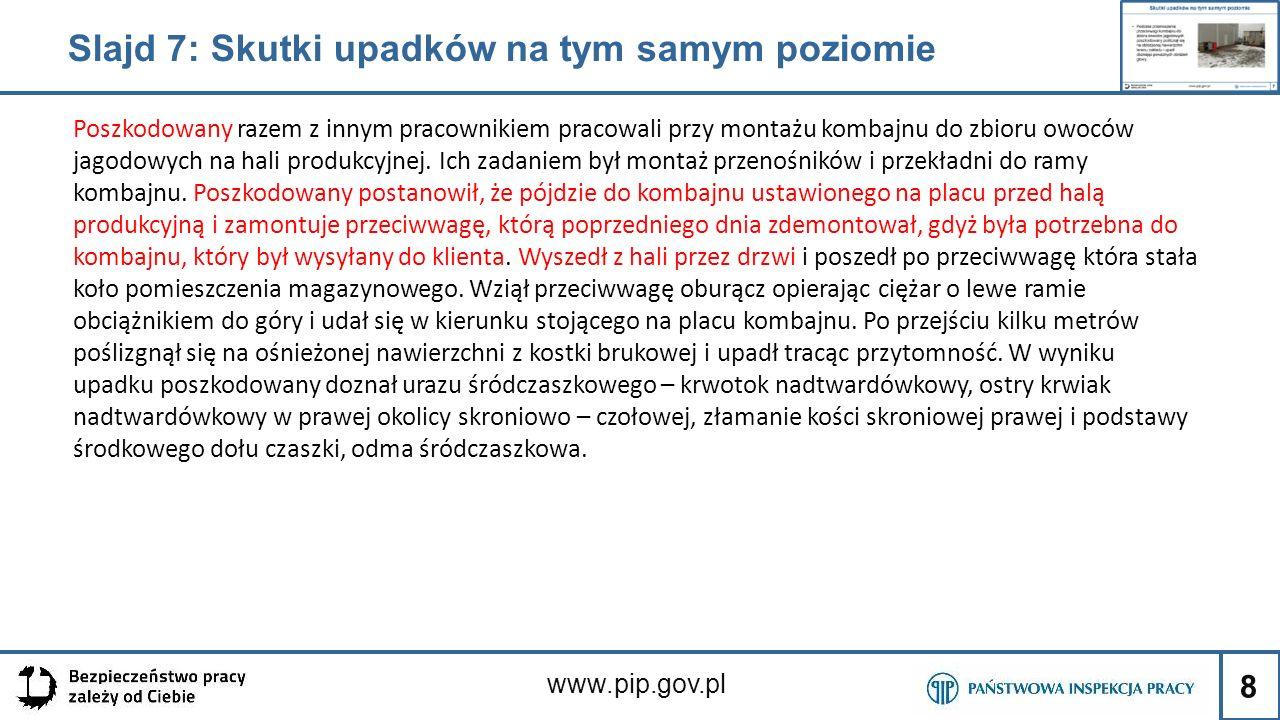 9 www.pip.gov.pl Slajd 8: Pojęcia podstawowe Do poślizgnięcia dochodzi wówczas, gdy na śliskiej nawierzchni stopy tracą kontakt z podłożem i zaczynają się poruszać szybciej niż reszta ciała.