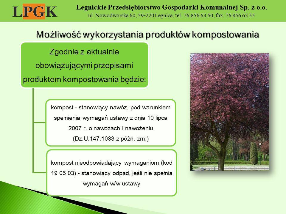 Legnickie Przedsiębiorstwo Gospodarki Komunalnej Sp. z o.o. ul. Nowodworska 60, 59-220 Legnica, tel. 76 856 63 50, fax. 76 856 63 55 Zgodnie z aktualn