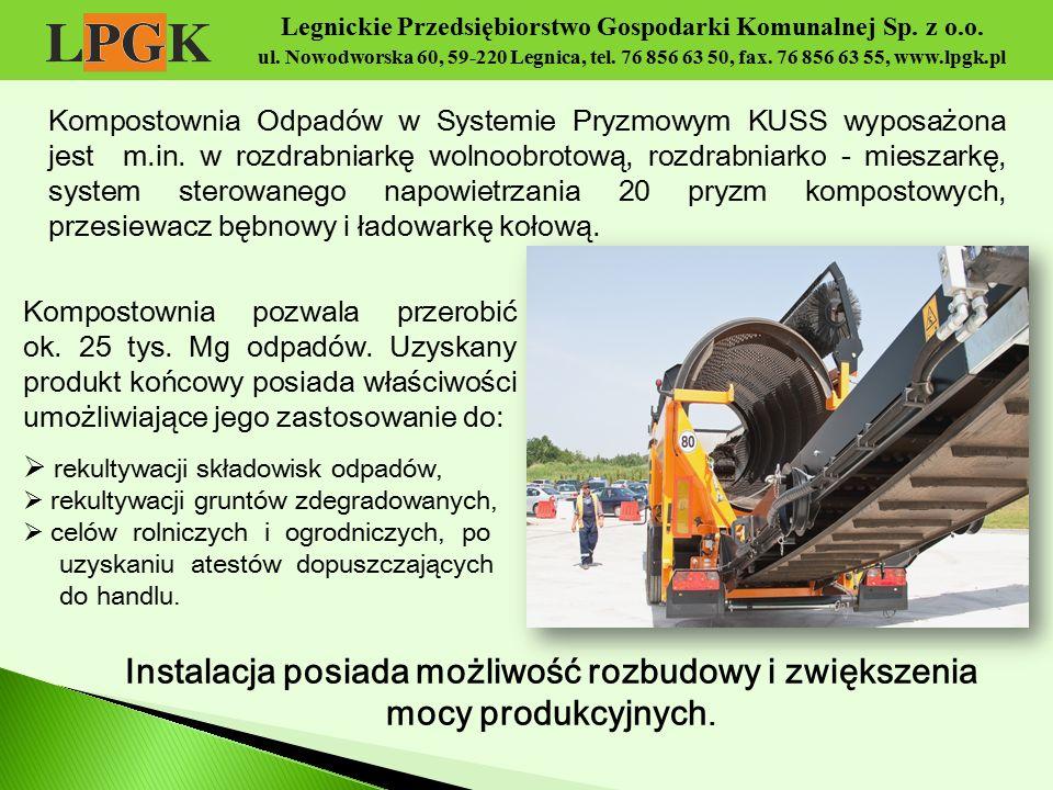 Legnickie Przedsiębiorstwo Gospodarki Komunalnej Sp. z o.o. ul. Nowodworska 60, 59-220 Legnica, tel. 76 856 63 50, fax. 76 856 63 55, www.lpgk.pl Komp