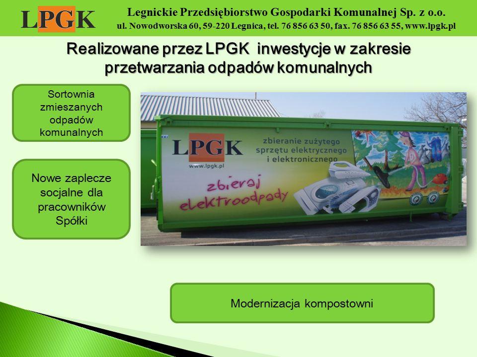 Legnickie Przedsiębiorstwo Gospodarki Komunalnej Sp. z o.o. ul. Nowodworska 60, 59-220 Legnica, tel. 76 856 63 50, fax. 76 856 63 55, www.lpgk.pl Real