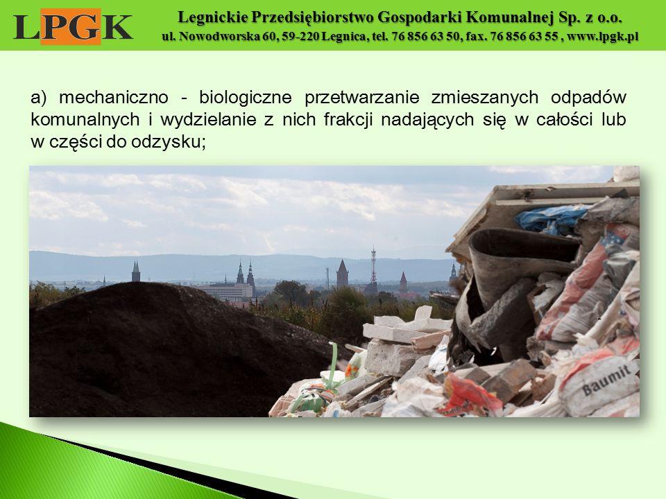 Legnickie Przedsiębiorstwo Gospodarki Komunalnej Sp. z o.o. ul. Nowodworska 60, 59-220 Legnica, tel. 76 856 63 50, fax. 76 856 63 55, www.lpgk.pl a) m
