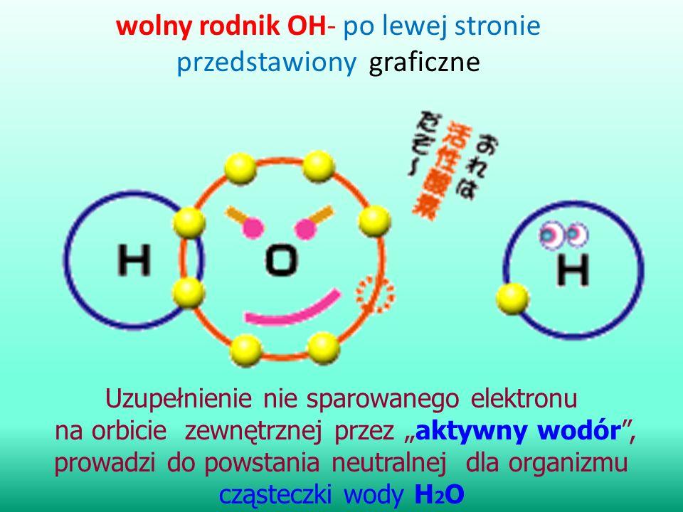 """wolny rodnik OH- po lewej stronie przedstawiony graficzne Uzupełnienie nie sparowanego elektronu na orbicie zewnętrznej przez """"aktywny wodór"""", prowadz"""