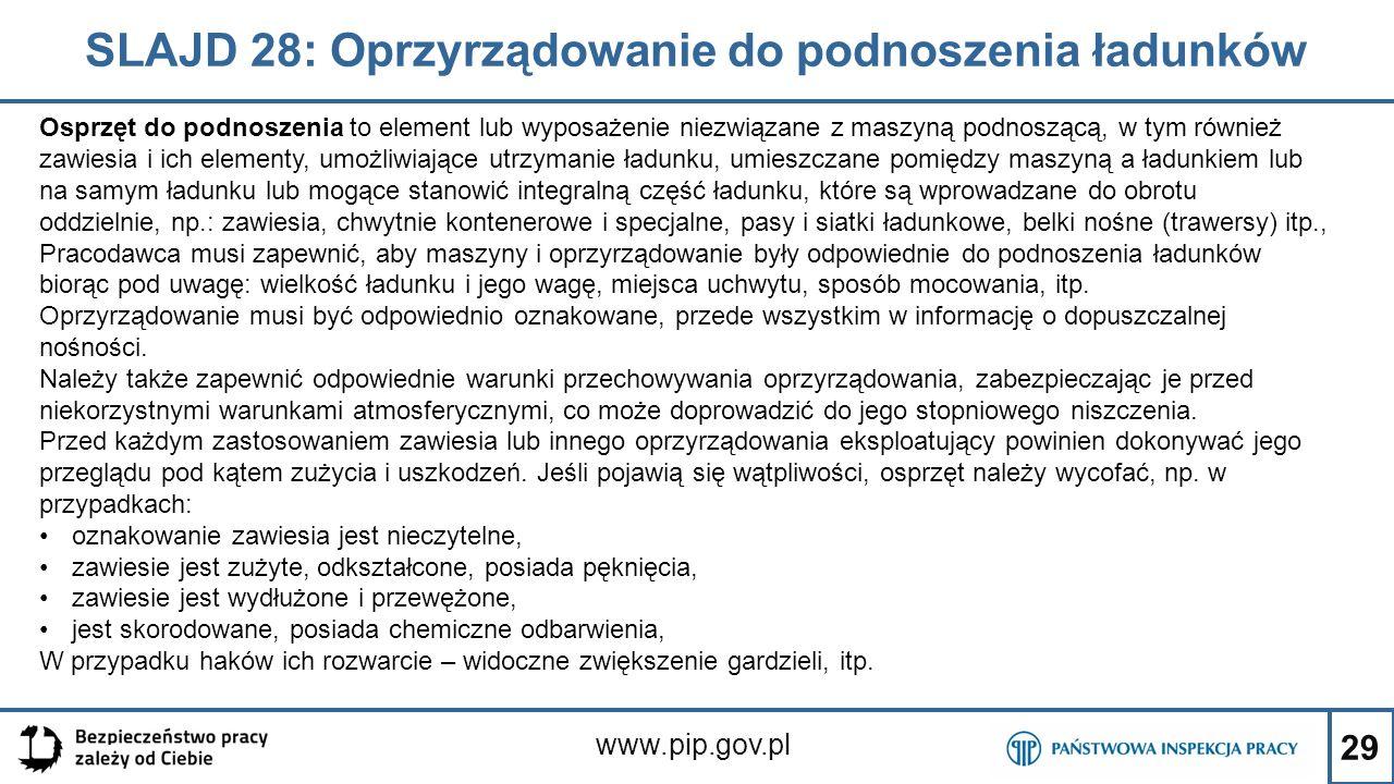 29 SLAJD 28: Oprzyrządowanie do podnoszenia ładunków www.pip.gov.pl Osprzęt do podnoszenia to element lub wyposażenie niezwiązane z maszyną podnoszącą