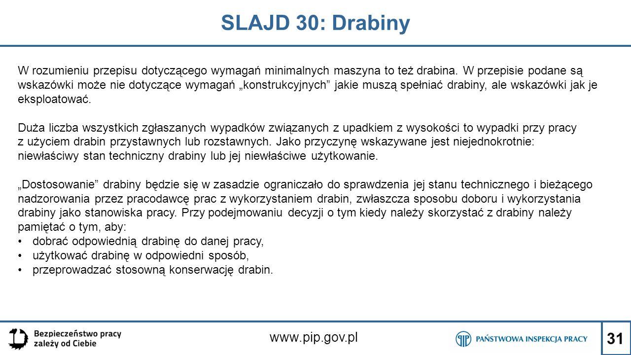 31 SLAJD 30: Drabiny www.pip.gov.pl W rozumieniu przepisu dotyczącego wymagań minimalnych maszyna to też drabina. W przepisie podane są wskazówki może
