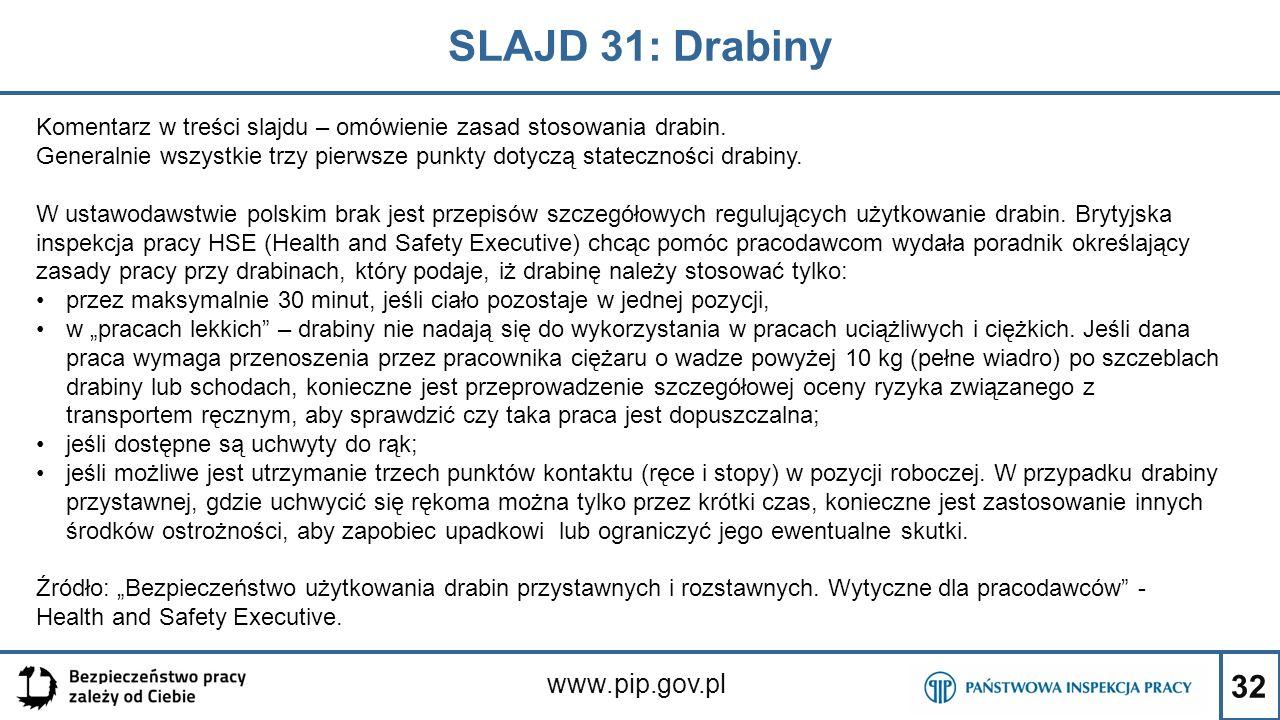 32 SLAJD 31: Drabiny www.pip.gov.pl Komentarz w treści slajdu – omówienie zasad stosowania drabin. Generalnie wszystkie trzy pierwsze punkty dotyczą s