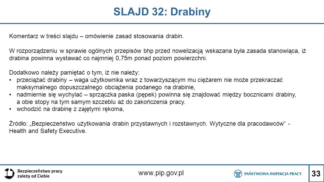 33 SLAJD 32: Drabiny www.pip.gov.pl Komentarz w treści slajdu – omówienie zasad stosowania drabin. W rozporządzeniu w sprawie ogólnych przepisów bhp p