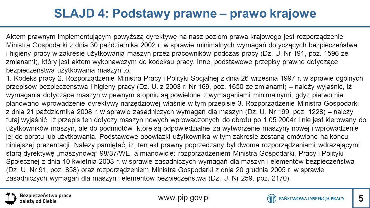 5 SLAJD 4: Podstawy prawne – prawo krajowe www.pip.gov.pl Aktem prawnym implementującym powyższą dyrektywę na nasz poziom prawa krajowego jest rozporządzenie Ministra Gospodarki z dnia 30 października 2002 r.