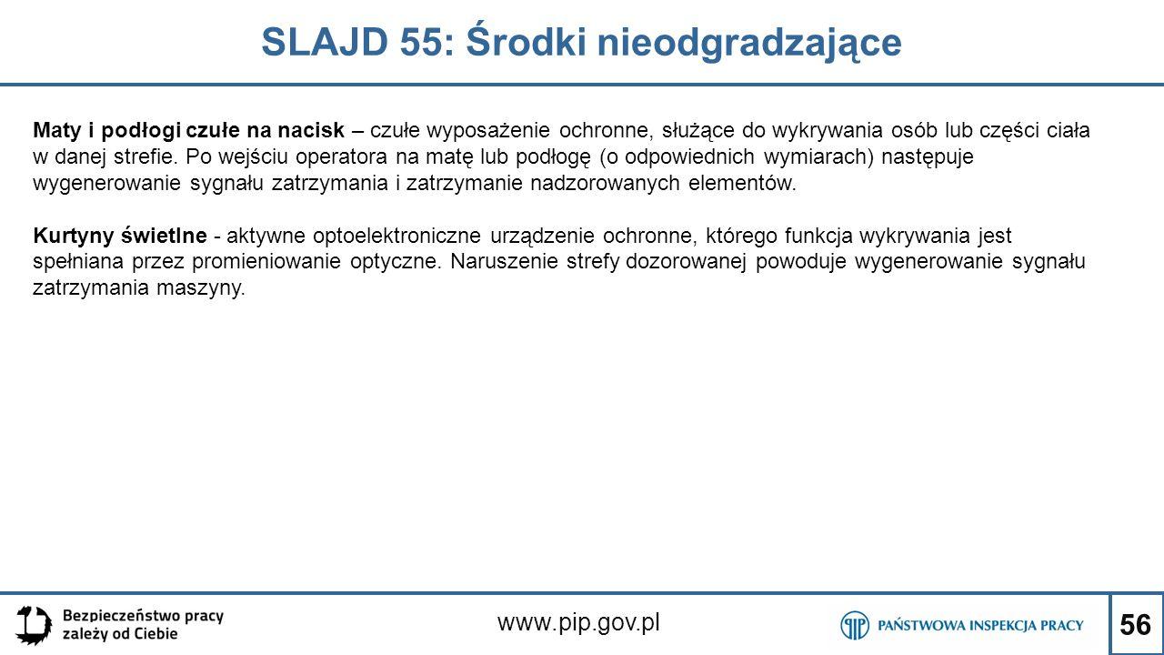56 SLAJD 55: Środki nieodgradzające www.pip.gov.pl Maty i podłogi czułe na nacisk – czułe wyposażenie ochronne, służące do wykrywania osób lub części ciała w danej strefie.