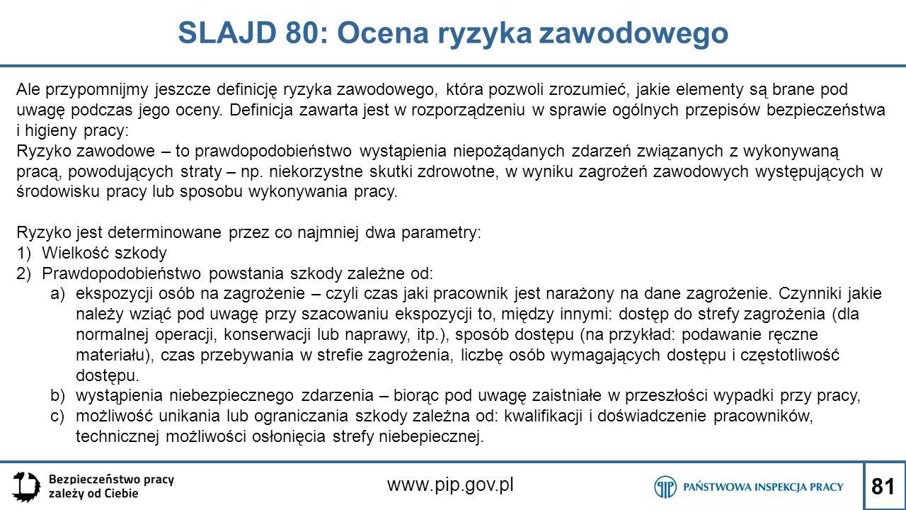 81 SLAJD 80: Ocena ryzyka zawodowego www.pip.gov.pl Ale przypomnijmy jeszcze definicję ryzyka zawodowego, która pozwoli zrozumieć, jakie elementy są brane pod uwagę podczas jego oceny.