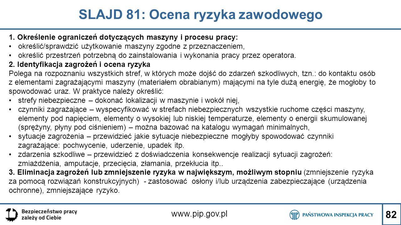 82 SLAJD 81: Ocena ryzyka zawodowego www.pip.gov.pl 1. Określenie ograniczeń dotyczących maszyny i procesu pracy: określić/sprawdzić użytkowanie maszy