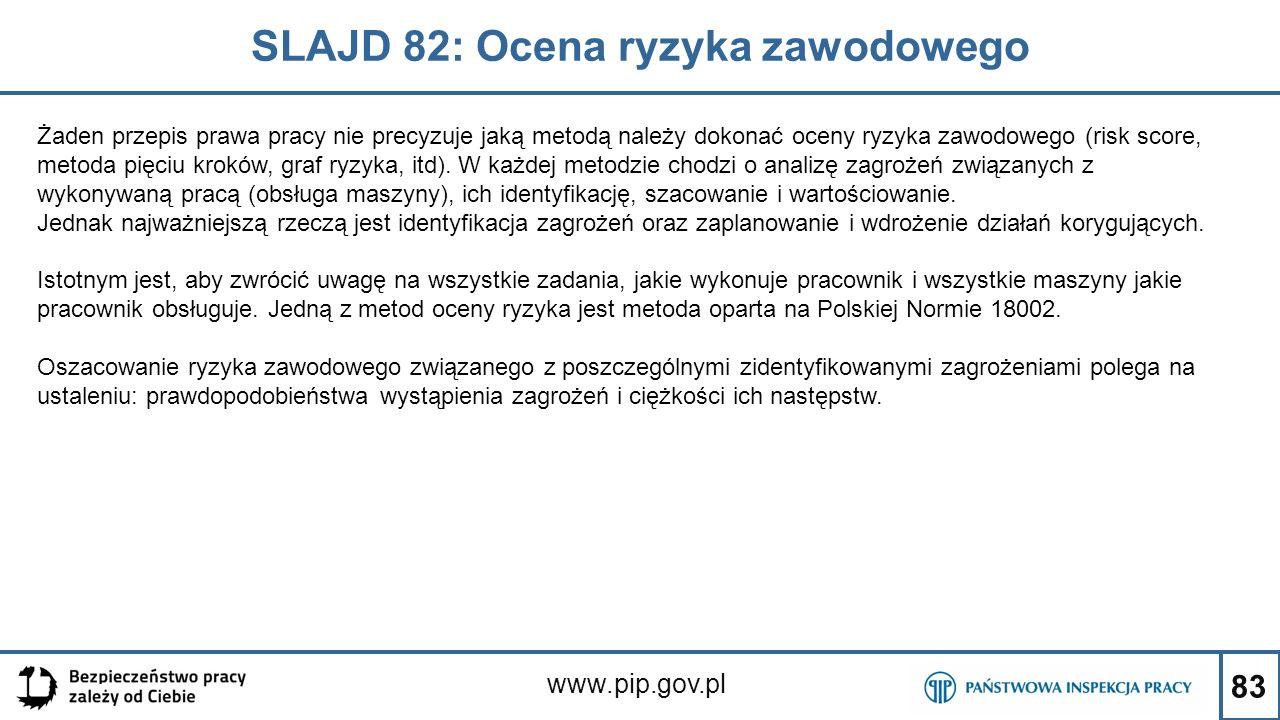83 SLAJD 82: Ocena ryzyka zawodowego www.pip.gov.pl Żaden przepis prawa pracy nie precyzuje jaką metodą należy dokonać oceny ryzyka zawodowego (risk score, metoda pięciu kroków, graf ryzyka, itd).