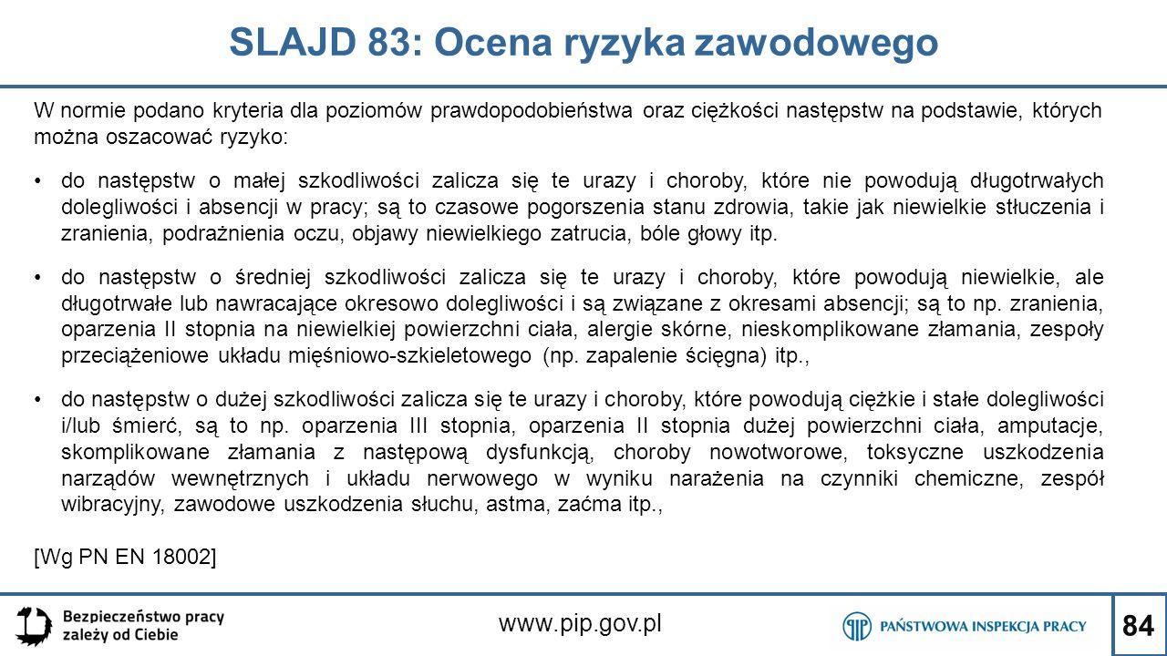 84 SLAJD 83: Ocena ryzyka zawodowego www.pip.gov.pl W normie podano kryteria dla poziomów prawdopodobieństwa oraz ciężkości następstw na podstawie, których można oszacować ryzyko: do następstw o małej szkodliwości zalicza się te urazy i choroby, które nie powodują długotrwałych dolegliwości i absencji w pracy; są to czasowe pogorszenia stanu zdrowia, takie jak niewielkie stłuczenia i zranienia, podrażnienia oczu, objawy niewielkiego zatrucia, bóle głowy itp.