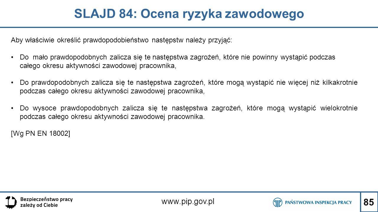 85 SLAJD 84: Ocena ryzyka zawodowego www.pip.gov.pl Aby właściwie określić prawdopodobieństwo następstw należy przyjąć: Do mało prawdopodobnych zalicza się te następstwa zagrożeń, które nie powinny wystąpić podczas całego okresu aktywności zawodowej pracownika, Do prawdopodobnych zalicza się te następstwa zagrożeń, które mogą wystąpić nie więcej niż kilkakrotnie podczas całego okresu aktywności zawodowej pracownika, Do wysoce prawdopodobnych zalicza się te następstwa zagrożeń, które mogą wystąpić wielokrotnie podczas całego okresu aktywności zawodowej pracownika.