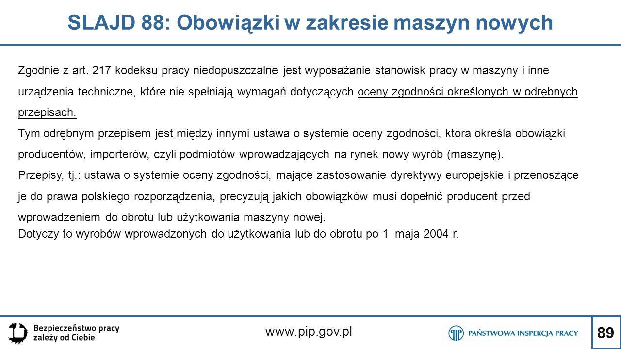 89 SLAJD 88: Obowiązki w zakresie maszyn nowych www.pip.gov.pl Zgodnie z art. 217 kodeksu pracy niedopuszczalne jest wyposażanie stanowisk pracy w mas