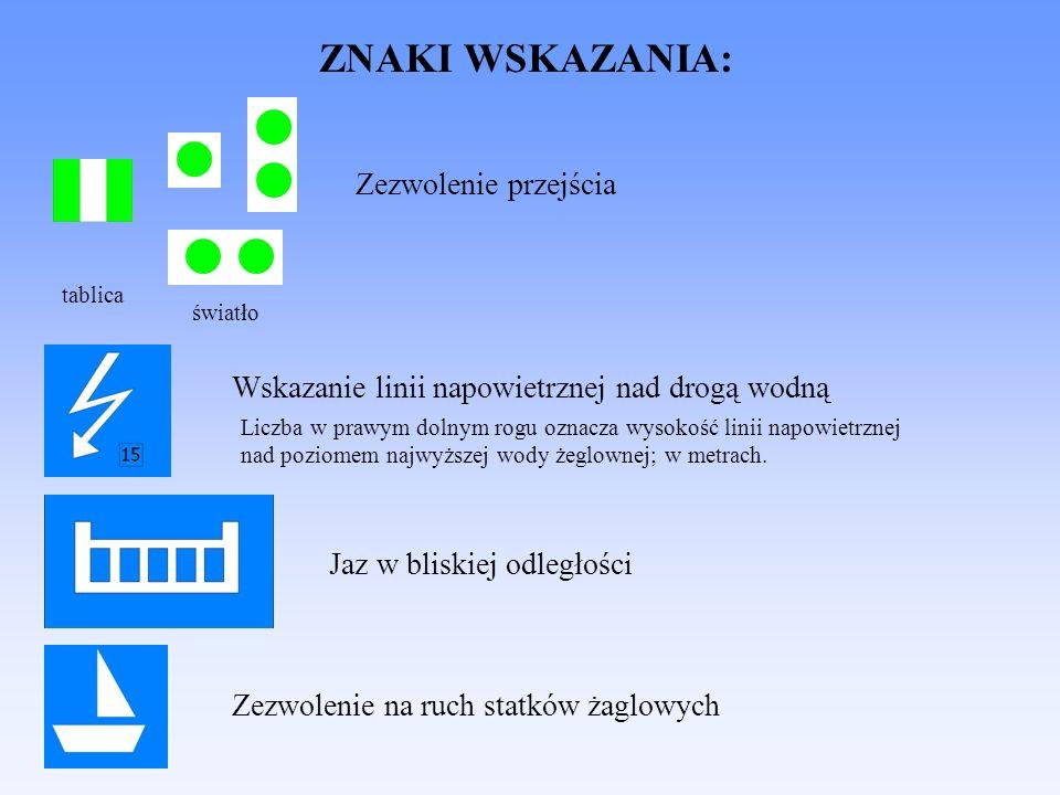 ZNAKI WSKAZANIA: Zezwolenie przejścia światło tablica Wskazanie linii napowietrznej nad drogą wodną Liczba w prawym dolnym rogu oznacza wysokość linii