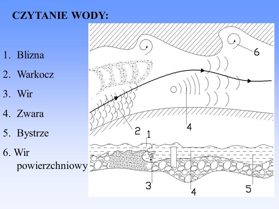 RZEKA UREGULOWANA: 1.Opaska 2.Linia nurtu 3.Ostroga 4.Wał przeciwpowodziowy 5.Odsypisko 6.