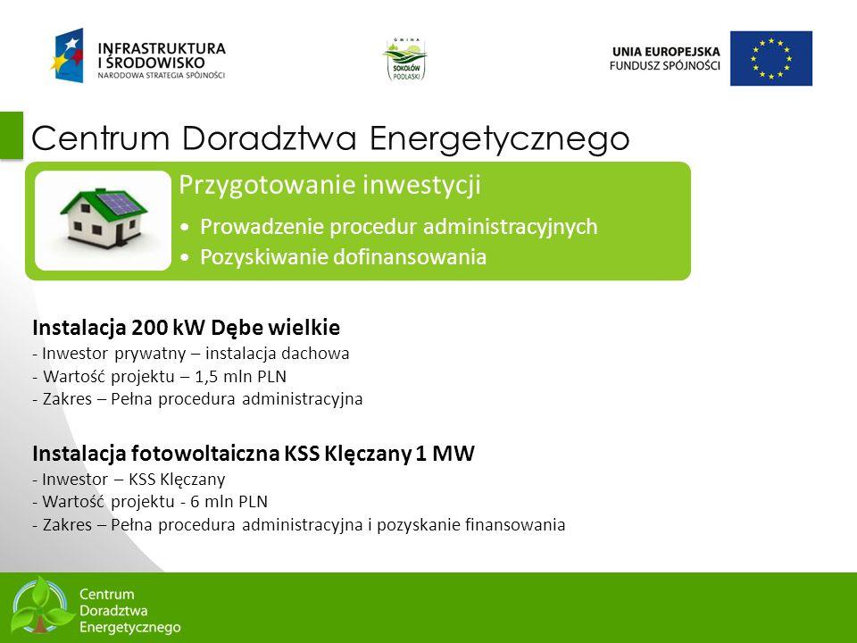 5 Centrum Doradztwa Energetycznego Przygotowanie inwestycji Prowadzenie procedur administracyjnych Pozyskiwanie dofinansowania Instalacja 200 kW Dębe