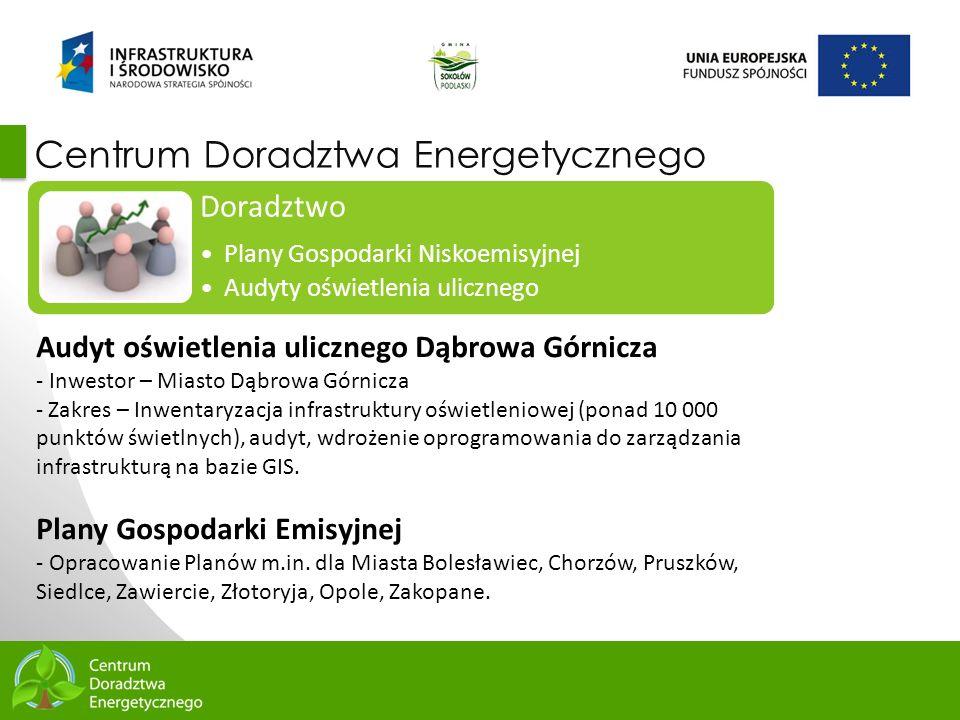 6 Centrum Doradztwa Energetycznego Doradztwo Plany Gospodarki Niskoemisyjnej Audyty oświetlenia ulicznego Audyt oświetlenia ulicznego Dąbrowa Górnicza