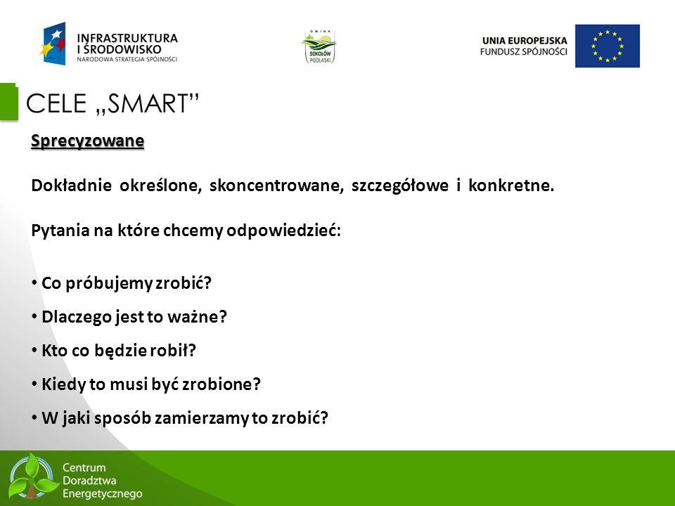 """60 CELE """"SMART"""" Sprecyzowane Dokładnie określone, skoncentrowane, szczegółowe i konkretne. Pytania na które chcemy odpowiedzieć: Co próbujemy zrobić?"""