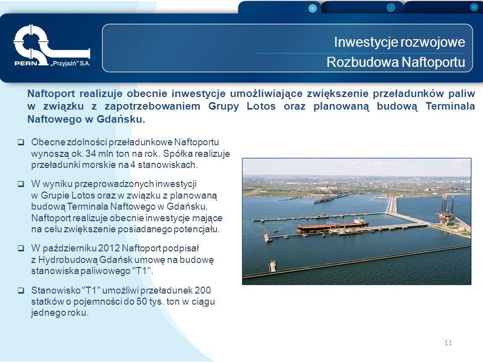 Inwestycje rozwojowe Rozbudowa Naftoportu 11 Naftoport realizuje obecnie inwestycje umożliwiające zwiększenie przeładunków paliw w związku z zapotrzeb