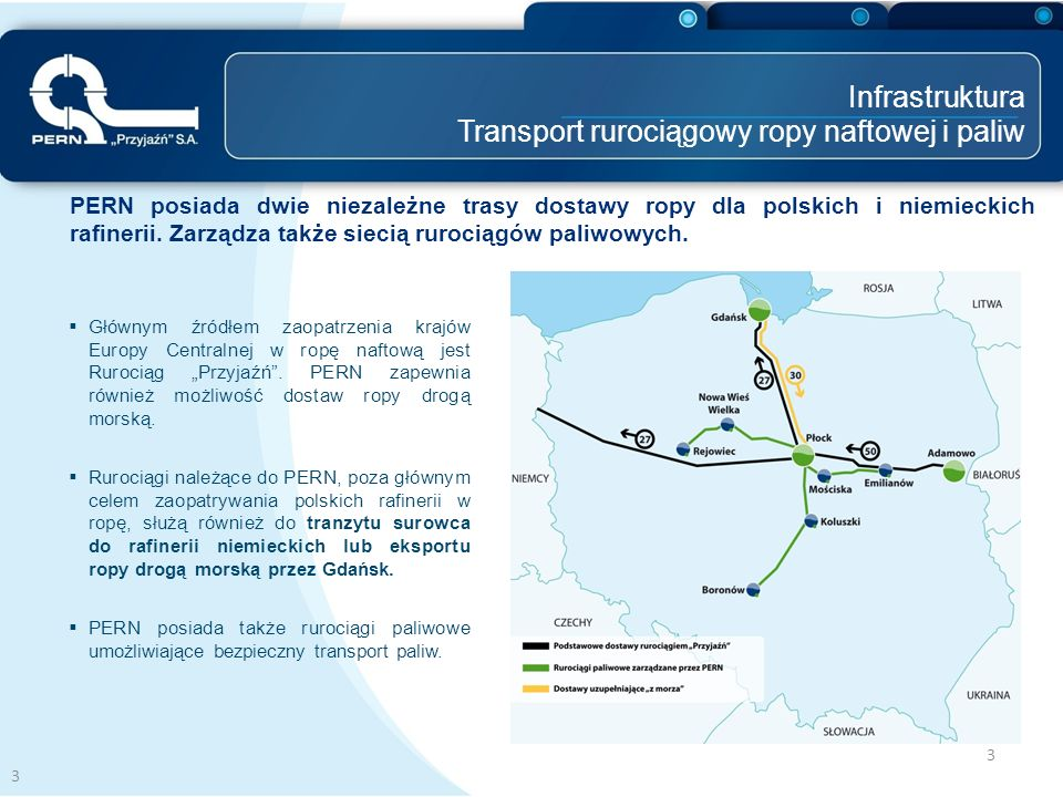 3 PERN posiada dwie niezależne trasy dostawy ropy dla polskich i niemieckich rafinerii. Zarządza także siecią rurociągów paliwowych. 3 Infrastruktura