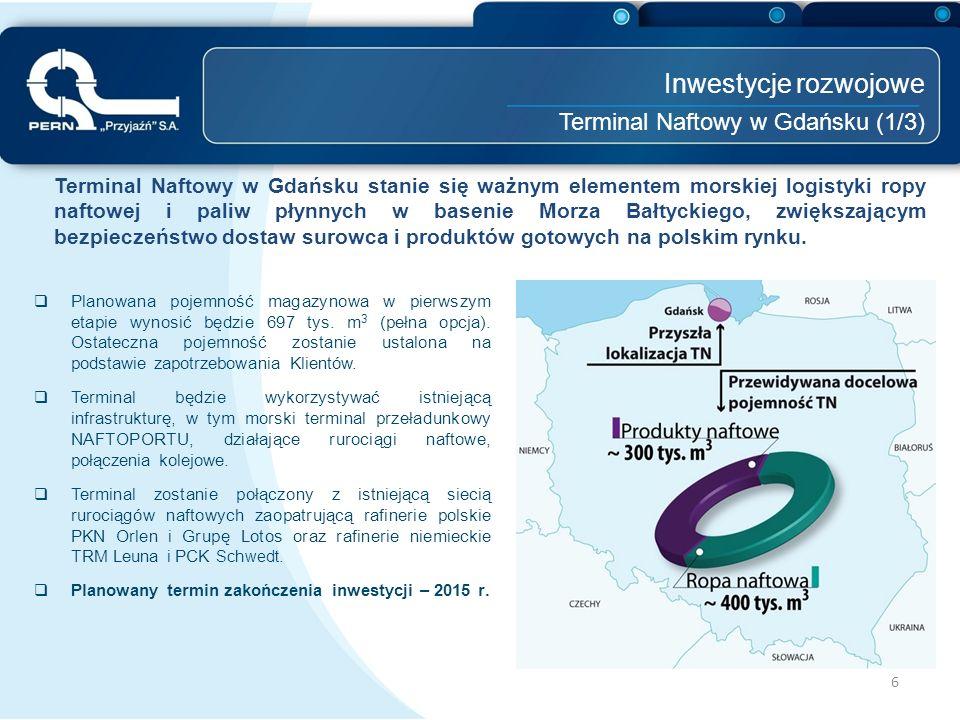 """7 Inwestycje rozwojowe Terminal Naftowy w Gdańsku (2/3) Budowa TNG umożliwi:  uzyskanie znaczącej pozycji w zakresie przeładunku ropy i paliw w basenie Morza Bałtyckiego;  stworzenie elastycznych warunków zaopatrzenia w paliwa silnikowe w Polsce, w przypadku pojawienia się ich znaczącego deficytu;  osiągnięcie Grupie PERN dodatkowych zysków z tytułu usług przeładunkowych i magazynowych ropy;  uzupełnienie oferty PERN """"Przyjaźń S.A."""