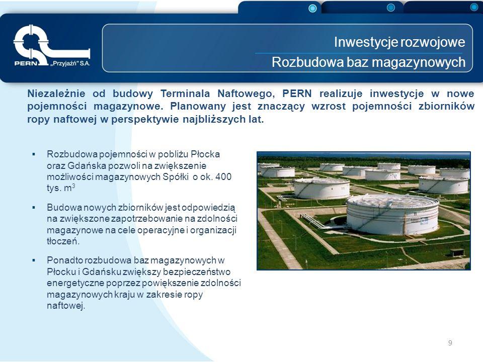Inwestycje rozwojowe Rozbudowa baz magazynowych 9 Niezależnie od budowy Terminala Naftowego, PERN realizuje inwestycje w nowe pojemności magazynowe. P