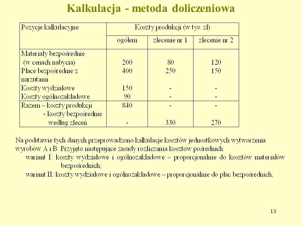 Kalkulacja - metoda doliczeniowa 13