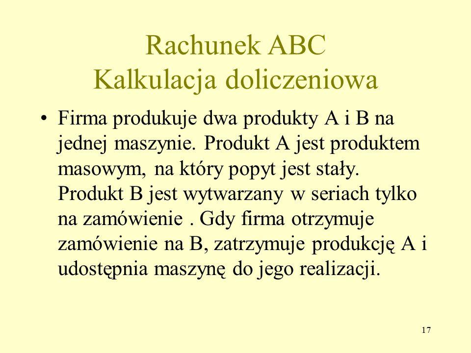 Rachunek ABC Kalkulacja doliczeniowa Firma produkuje dwa produkty A i B na jednej maszynie. Produkt A jest produktem masowym, na który popyt jest stał