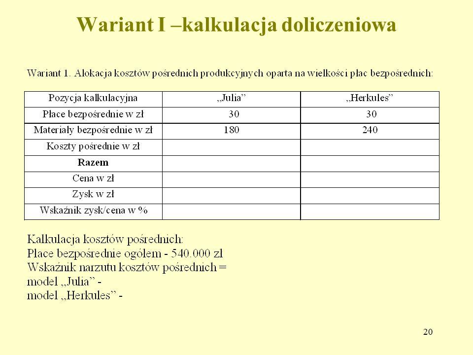 20 Wariant I –kalkulacja doliczeniowa