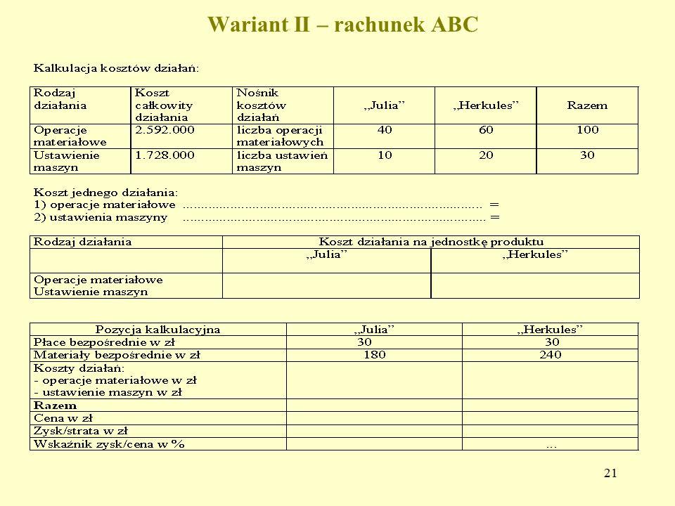 21 Wariant II – rachunek ABC
