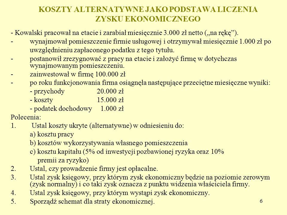 """6 KOSZTY ALTERNATYWNE JAKO PODSTAWA LICZENIA ZYSKU EKONOMICZNEGO - Kowalski pracował na etacie i zarabiał miesięcznie 3.000 zł netto (""""na rękę""""). - wy"""