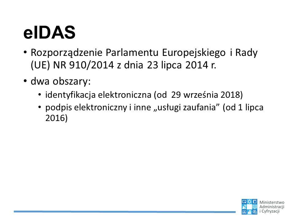 eIDAS Rozporządzenie Parlamentu Europejskiego i Rady (UE) NR 910/2014 z dnia 23 lipca 2014 r. dwa obszary: identyfikacja elektroniczna (od 29 września