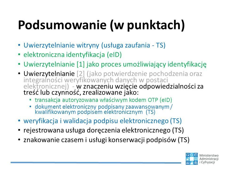 Podsumowanie (w punktach) Uwierzytelnianie witryny (usługa zaufania - TS) elektroniczna identyfikacja (eID) Uwierzytelnianie [1] jako proces umożliwia