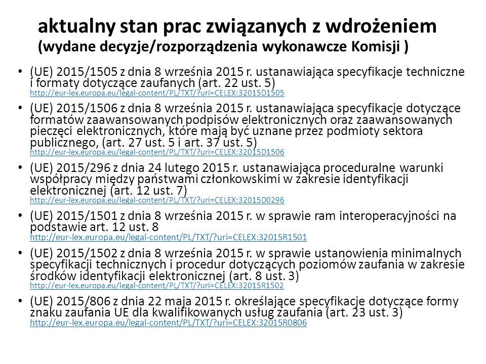 aktualny stan prac związanych z wdrożeniem (wydane decyzje/rozporządzenia wykonawcze Komisji ) (UE) 2015/1505 z dnia 8 września 2015 r. ustanawiająca
