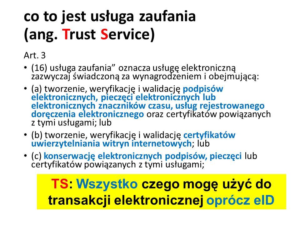"""co to jest usługa zaufania (ang. Trust Service) Art. 3 (16) usługa zaufania"""" oznacza usługę elektroniczną zazwyczaj świadczoną za wynagrodzeniem i obe"""