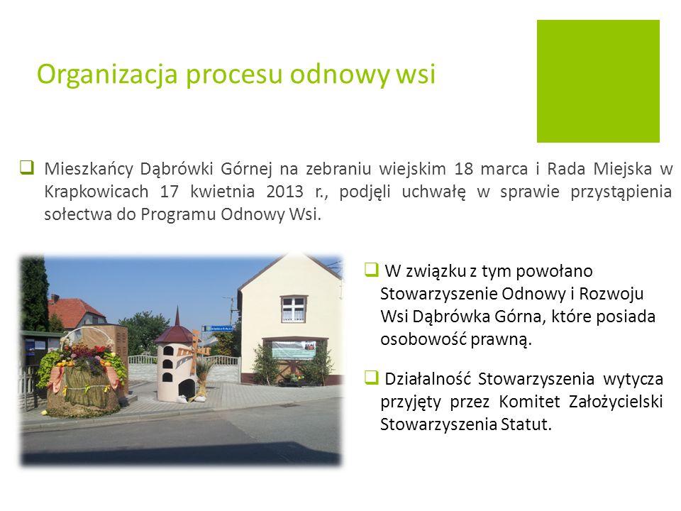  W związku z tym powołano Stowarzyszenie Odnowy i Rozwoju Wsi Dąbrówka Górna, które posiada osobowość prawną.