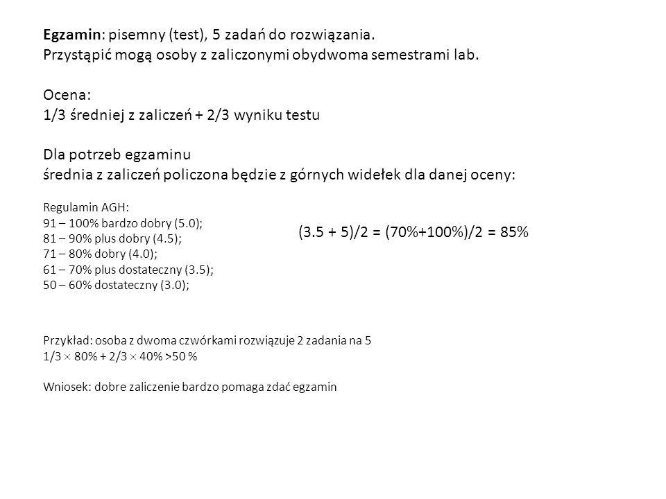 Egzamin: pisemny (test), 5 zadań do rozwiązania. Przystąpić mogą osoby z zaliczonymi obydwoma semestrami lab. Ocena: 1/3 średniej z zaliczeń + 2/3 wyn