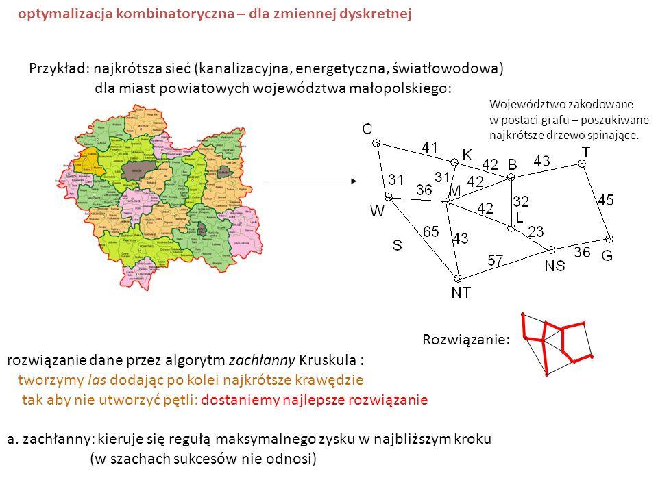 Przykład: najkrótsza sieć (kanalizacyjna, energetyczna, światłowodowa) dla miast powiatowych województwa małopolskiego: 31 Województwo zakodowane w po