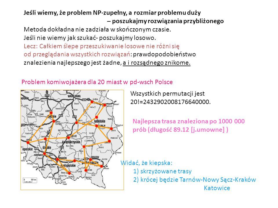 Jeśli wiemy, że problem NP-zupełny, a rozmiar problemu duży – poszukajmy rozwiązania przybliżonego Metoda dokładna nie zadziała w skończonym czasie. J