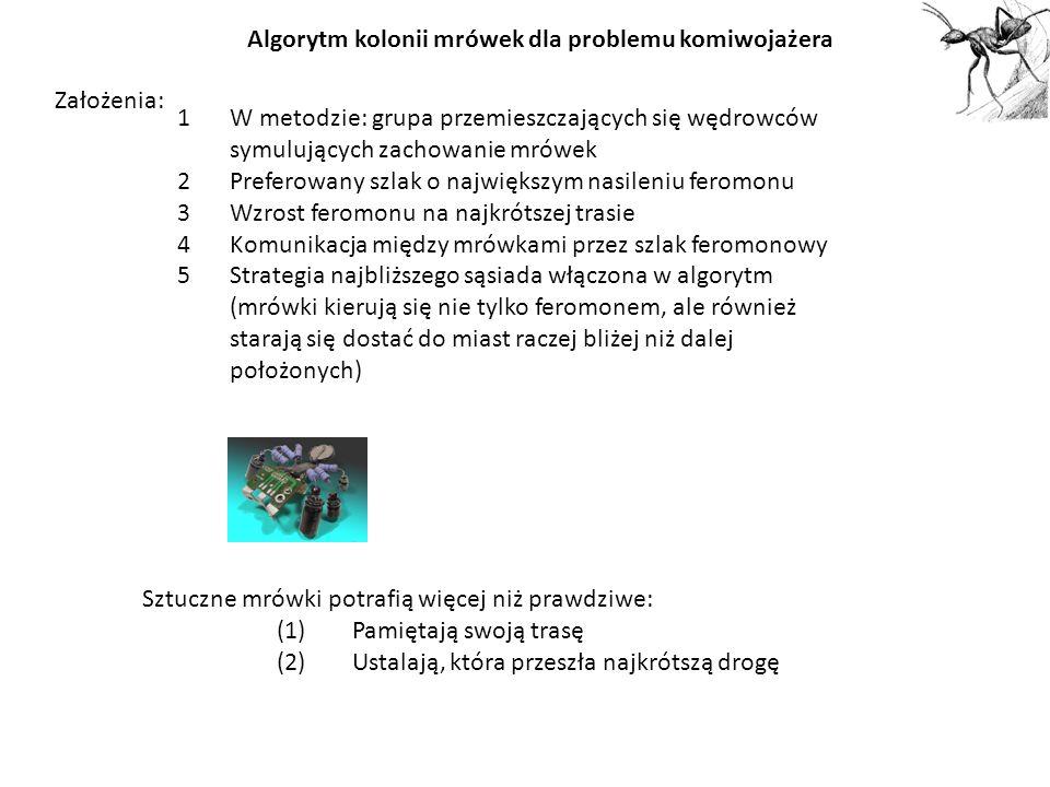 Algorytm kolonii mrówek dla problemu komiwojażera 1W metodzie: grupa przemieszczających się wędrowców symulujących zachowanie mrówek 2Preferowany szla