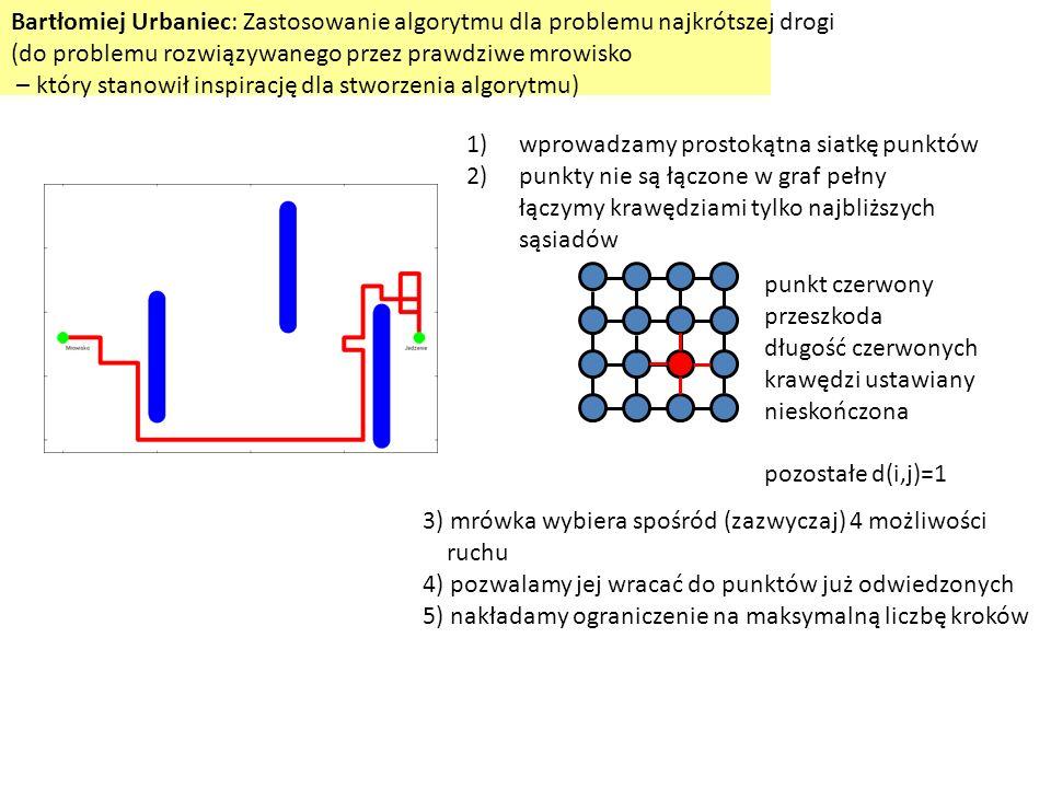 Bartłomiej Urbaniec: Zastosowanie algorytmu dla problemu najkrótszej drogi (do problemu rozwiązywanego przez prawdziwe mrowisko – który stanowił inspi